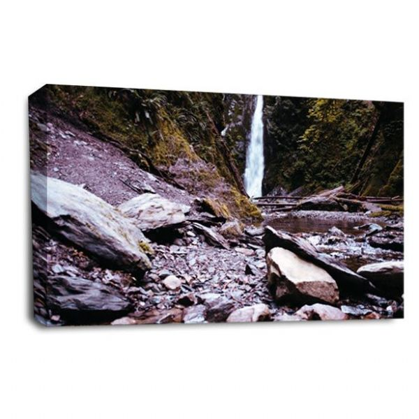 Rocky Waterfall Wall Art Picture Forest White Grey Black Print
